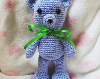 Blue Crochet Teddy Bear