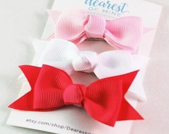 Mini Ribbon Hair Bow Clip Pack of 3 |Grosgrain Ribbon, Alligator Clip baby, toddler & Girl Hair bow