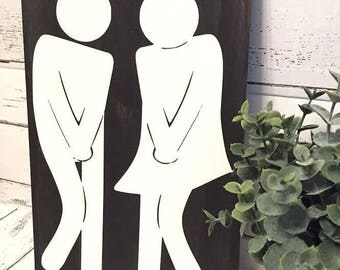 funny bathroom sign/ peepee dance/ bathroom sign/ rustic sign/ bathroom  decor/ male and female