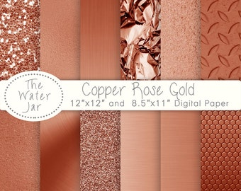 Digital Copper Rose Gold Foil Paper Pack, Copper Rose Gold digital paper pack, Copper Rose Gold Metallic Glitter, Copper Rose Gold Textures
