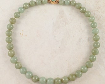 14K Yellow Gold Jade Bead Necklace