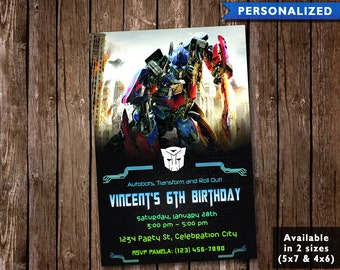 Transformers Birthday Invitation - Transformers Invitation - Transformers Birthday Invite (Digital File Download)