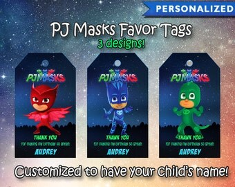 PJ Masks Thank You Tags, PJ Masks Favor Tags, PJ Masks Birthday Tags, Pj Masks Thank You Card (Printable Digital File)