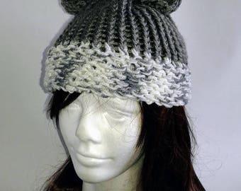 Soft gray bear ear hat