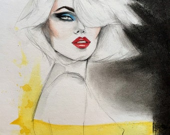 80s inspired Original Mixed Media Fashion Illustration