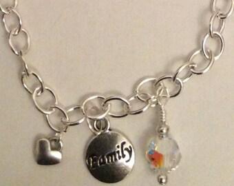 Word and Swarovski crystal charm necklace
