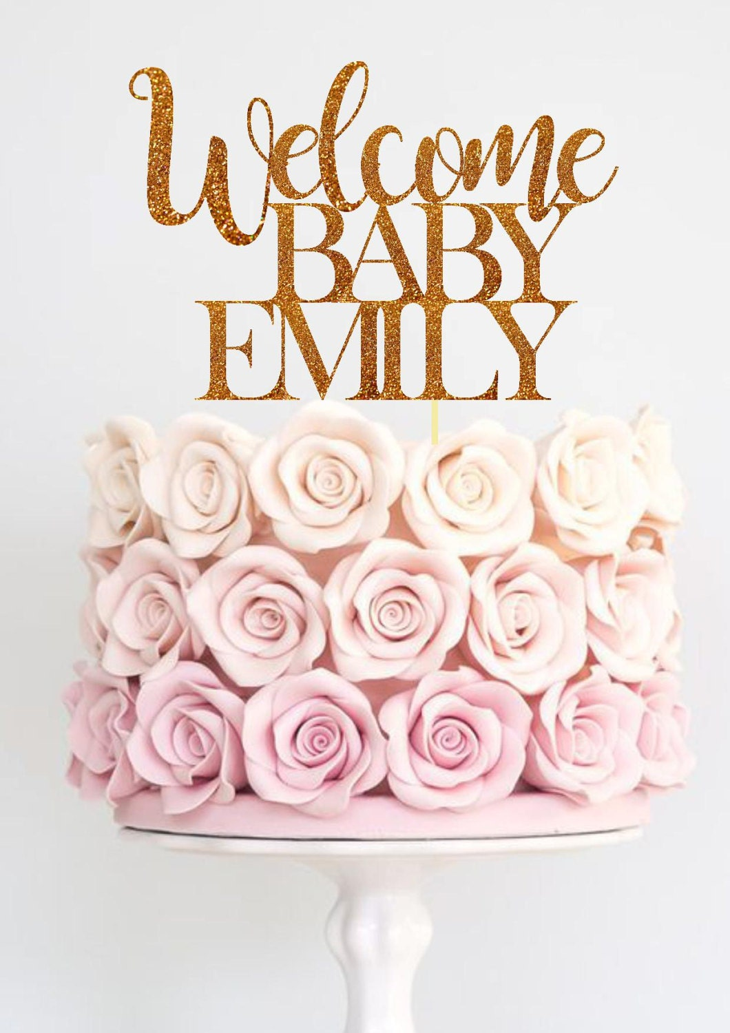 Baby shower cake topper welcome