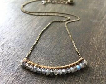 Labradorite Bar Necklace, Bohemian Beaded Necklace, Minimalist Necklace, Labradorite Necklace, Bar Necklace