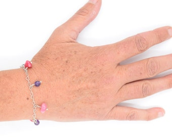 Jewelry, bracelet in sterling silver, Amethyst stone, rhodochrosite, rose stone, child jewelry, gift for her