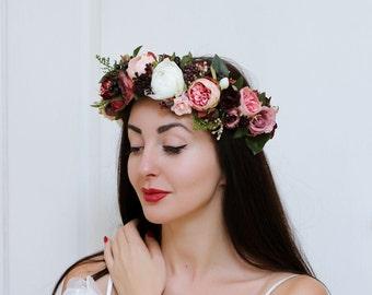 Rose peony flower crown Wedding hair wreath Bridal headpiece Pink white burgundy flower crown Boho Flower headband Wedding set Mommy and me