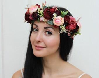 Burgundy wine pink flower crown Bridal floral crown Wedding hair wreath Flower headband Flower halo Floral crown Bridesmaid
