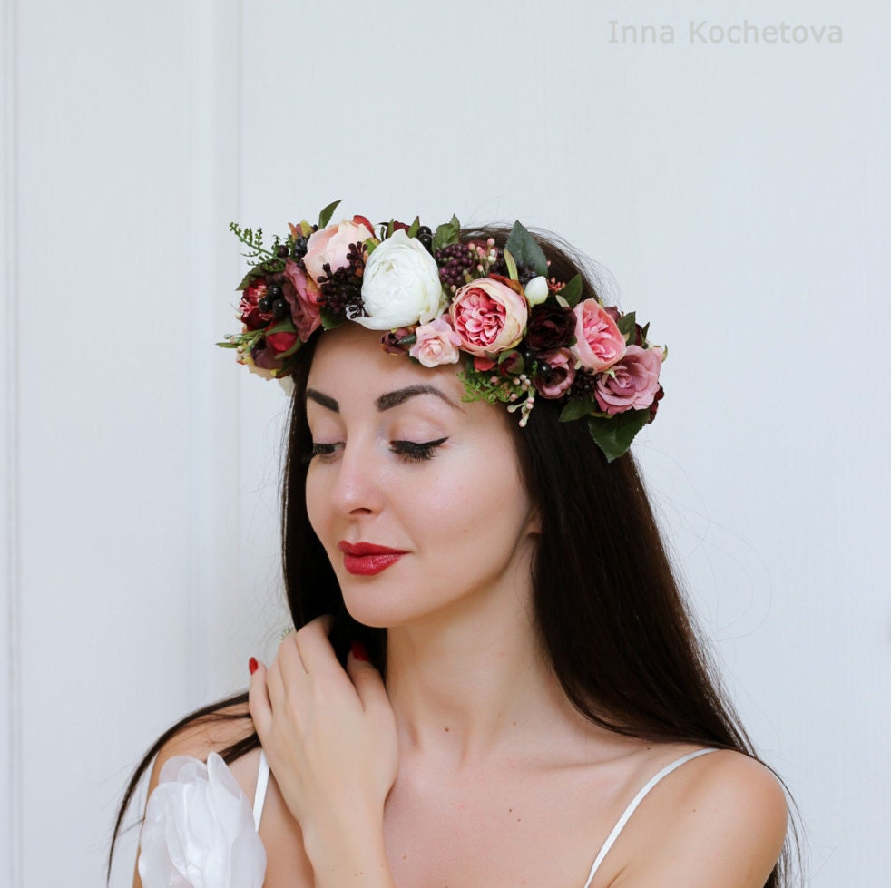 Flower Wedding Headpieces: Rose Peony Flower Crown Wedding Hair Wreath Bridal Headpiece
