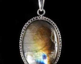 5cm LABRADORITE & Sterling Silver Pendant - Blue Labradorite Stone, Labradorite Jewelry, Labradorite Necklace, Labradorite Pendant J601