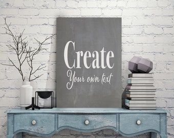 Text canvas etsy for Design your own house sign