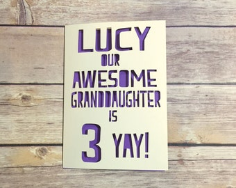 Personalised Granddaughter Birthday Card, Childrens Birthday Cards, Granddaughter 1st Birthday, Kids Birthday Card, 1st, 2nd, 3rd, 4th, 5th