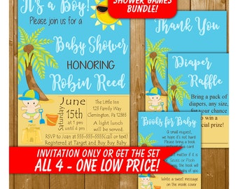 Beach Baby Shower Invitation, Baby Shower Invitation for a Boy, Diaper Raffle, Books for Baby, TY, Blue Shower, Baby Shower Printables