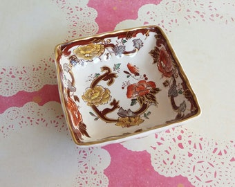 1930's Masons Brown Velvet Ceramic Dish - Squared serving bowl with gilt edges - Patent Ironstone - Made in England