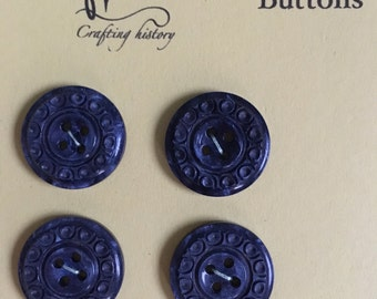 Four smart blue vintage patterned buttons