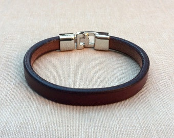 Leather Bracelet, leather bracelet, bracelet in dark brown, bracelet for men, Bangle