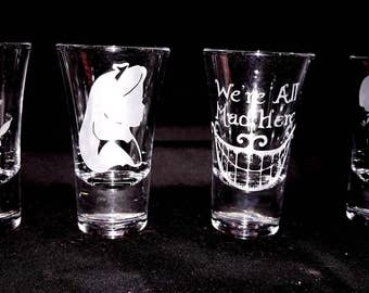 Alice In Wonderland Shot Glass Set