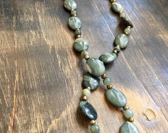 Green Jasper long beaded necklace 25""