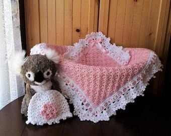 Crochet Baby Girl Blanket and Hat Set