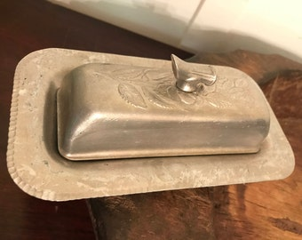 Vintage Everlast Forged Aluminum Butter Dish with Floral Pattern Detail
