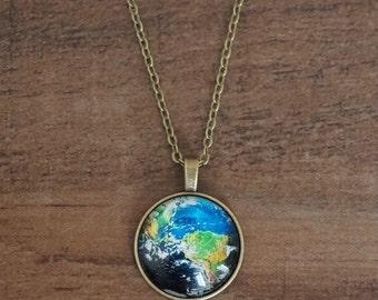 Earth Pendant Antique Brass Necklace