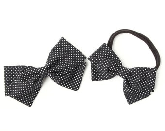 Black with White Hair Bows - Fabric Hair Girls - Nylon Headbands and Clips