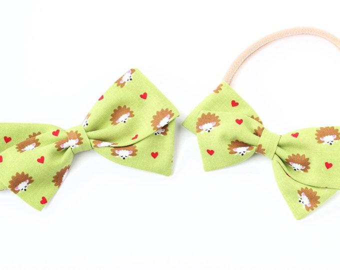 Hedgehog Bows - Hedgehog Baby - Heart Hair Bow