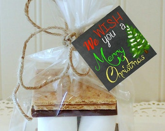 S'mores Kit, 12 S'mores Favor Kits, WE WISH You A MERRY Christmas S'mores Kit, S'mores Favors, Christmas Favors, Holiday S'mores Party Favor