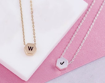 Tiny Letter Necklace | Hexagon | Initial Necklace | Letter Necklace | Minimal Y Necklace | Letter Necklace Gold | Bestfriend | Necklace