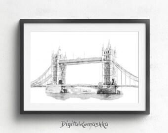 Tower bridge print, london tower bridge, london bridge art, bridge photography, london bridge decor, city print, architectural print