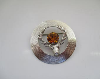 TRADITIONAL SCOTTISH, Celtic, Sterling Silver, Stags Head BROOCH with sparkly Amber Rhinestone, Celtic Jewellery, Celtic Jewelry