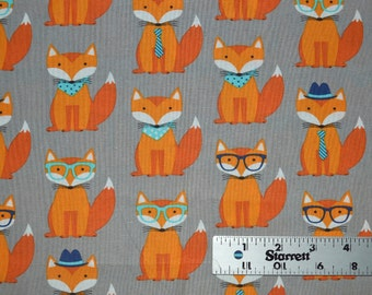 Fox and Houndstooth Fabric, Cotton Fabric, Quilting Fabric, Fabric by the Yard, Orange Fox  Fabric, Fox Fabric,