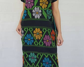 Tunic (Huipil) Slip over mexican hand made dress. Black with  eclectic, colorful embroidery  flowers. Ethnic Boho Chic robes. Size 10 and 22