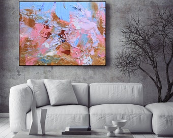 Light Blue Light Pink Canvas Art, Giclee Print Abstract Wall Art Print Living Room, Bedroom Art, Office Art, Modern Abstract Wall Art Print