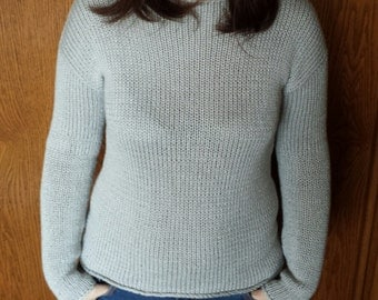 Hand Knit Women Sweater, summer sweater, women sweater, bamboo cotton sweater, outfit