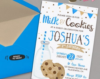 Boys Milk and Cookies invitation DIY Milk and Cookies birthday party printable invite boy Milk & cookies birthday invitation blue