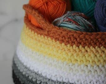 Ombre Crochet Basket Sunset Tones