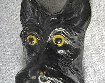 Small Vintage Plaster Scotty Dog Plaque Wall Art Wide-eyed Black Scottie