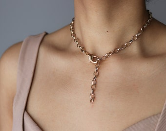 Rose Gold Link Lariat - Rose Gold Necklace - Gold Lariat Necklace - Statement Necklace - Gift For Her - Bold Jewelry