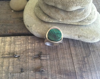 Vintage Sterling Silver Eilat Stone Ring from Israel/Size 7