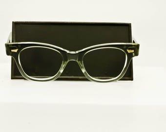 Vintage Tart Arnel Optics oTe Horned-Rimmed Keyhole Eyeglasses Mad Men 46-20