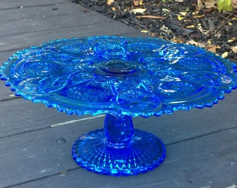 """Imperial Glass Cake Stand """"Fashion"""" Blue Cake Stand"""