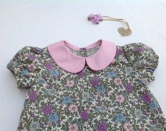 Girls blouse with Peter Pan collar, girls top, baby top, floral blouse, floral top, puff sleeves, baby girl, pink, purple, girls clothing,