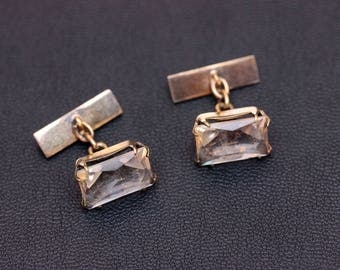 Soviet silver gold plate natural quartz cufflinks (rock crystal)