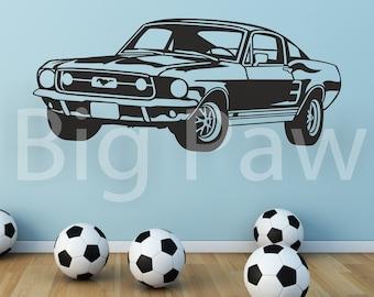 67 Ford Mustang Car Vinyl Wall Art Sticker Decal Boys Teenagers Bedroom Car Enthusiast Living Room Hallway