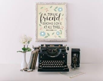 Bible Verse Wall Art, printable, best friend, best friend gift, friendship, bible verse print, friend gift, scripture wall art, scripture