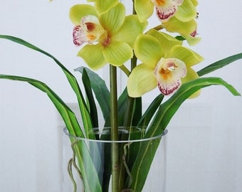 Green, cymbidium, orchids, plant, acrylic, water, faux, silk, Real Touch, flowers, tall, floral arrangement, centerpiece, glass, vase, decor